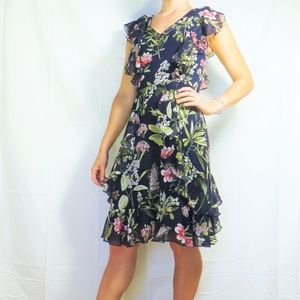Tommy Hilfiger Navy Chiffon Floral Dress